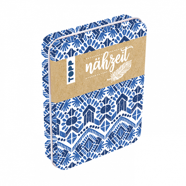 Nähzeit Reise-Nähset mit Metalldose Blau, Weiß