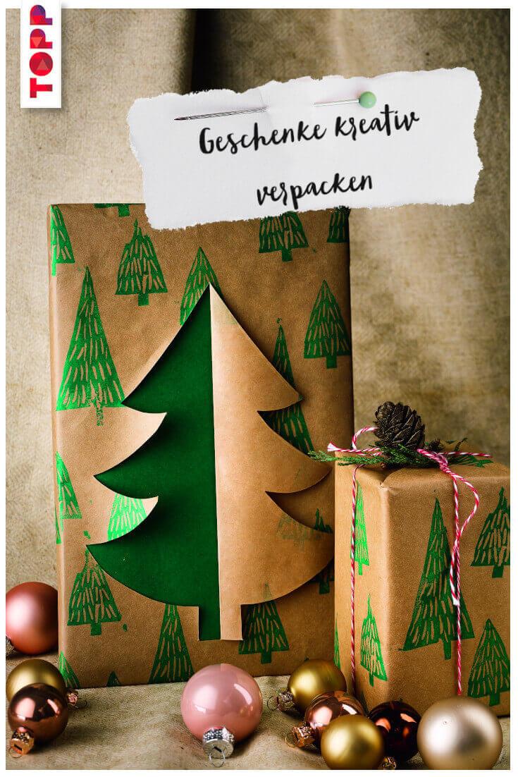 Geschenke kreativ verpacken verschiedene Geschenke Tannenbaum Geschenkverpackung Anleitung
