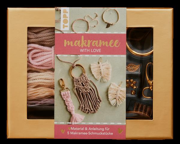 "Makramee-Schmuckset ""With Love"" in Rosé & Natur"