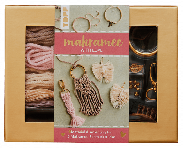 "Makramee-Schmuckset ""With Love"" in Rosé & Natur"