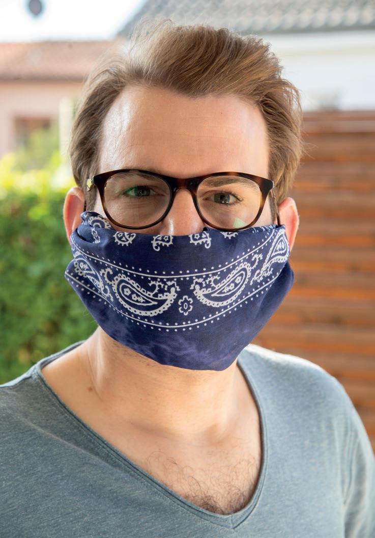 Mund- und Nasenmaske aus einem Baumwolltuch