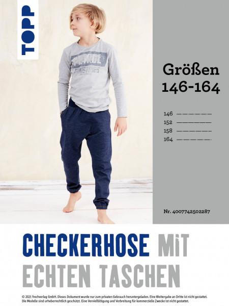 Checkerhose mit echten Taschen (Schnittmuster in Gr. 146–164 ohne Anleitung)
