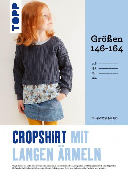 Cropshirt mit langen Ärmeln (Schnittmuster in Gr. 146–164 ohne Anleitung)