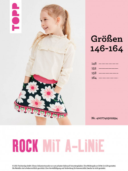 Rock in A-Linie (Schnittmuster in Gr. 146–164 ohne Anleitung)
