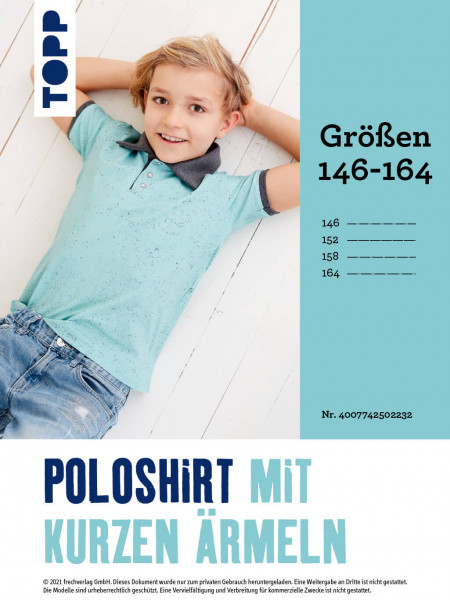 Poloshirt mit kurzen Ärmeln (Zusatzgrößen 146–164 ohne Anleitung)