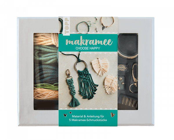 "Makramee-Schmuckset ""Choose Happy"" in Petrol & Natur"