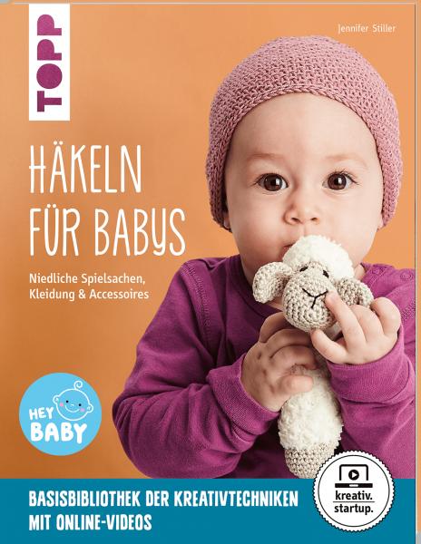 Häkeln für Baby Buchcover mit Baby und Häkelschaf