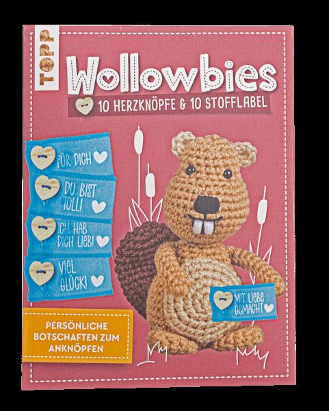 Wollowbies Set mit Herzknöpfen und Stofflabel
