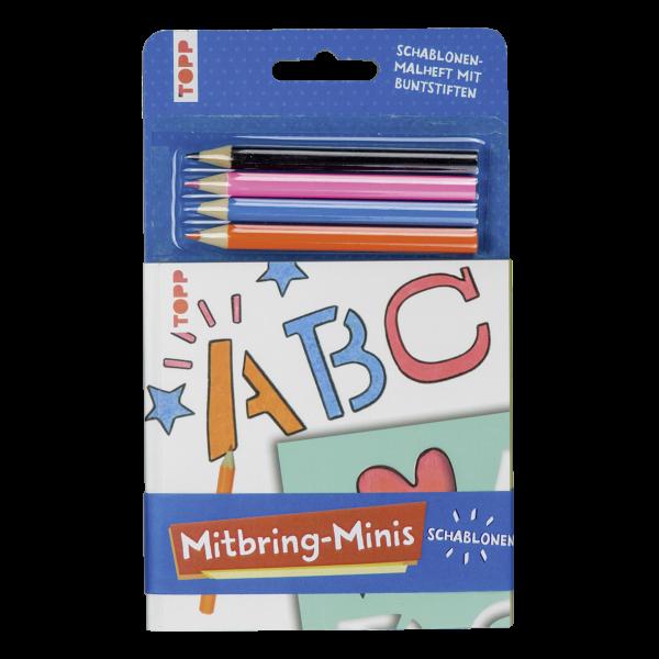Mitbring-Minis Schablonen-Malheft mit Buntstiften