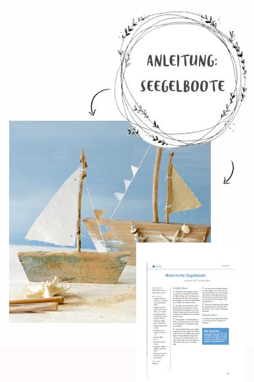 Holzfiguren zum selber basteln gratis Anleitung für Segelboot zum herunterladen