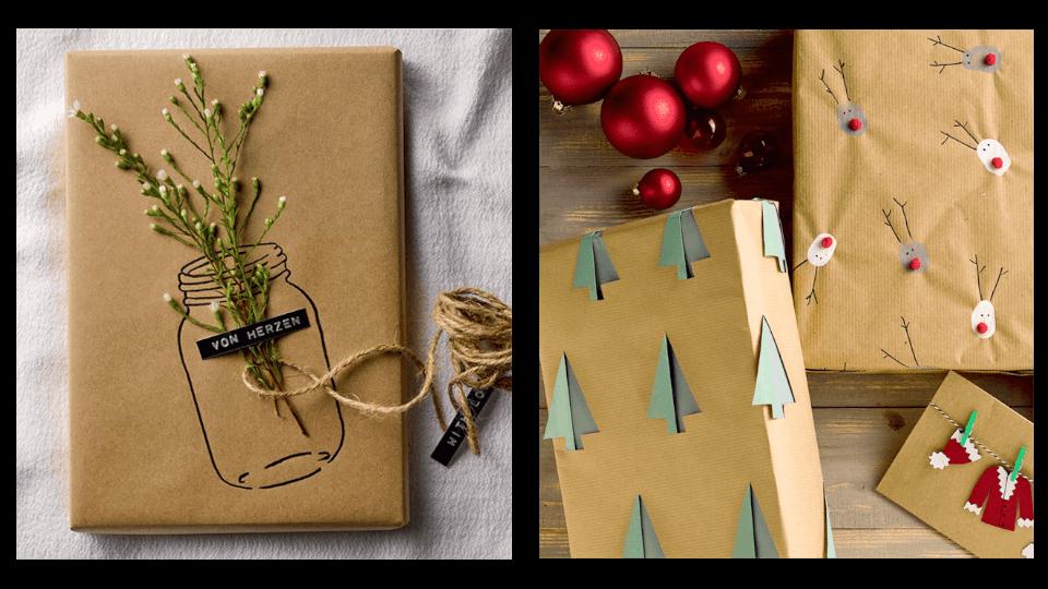 Geschenke kreativ verpacken verschiedene Geschenke